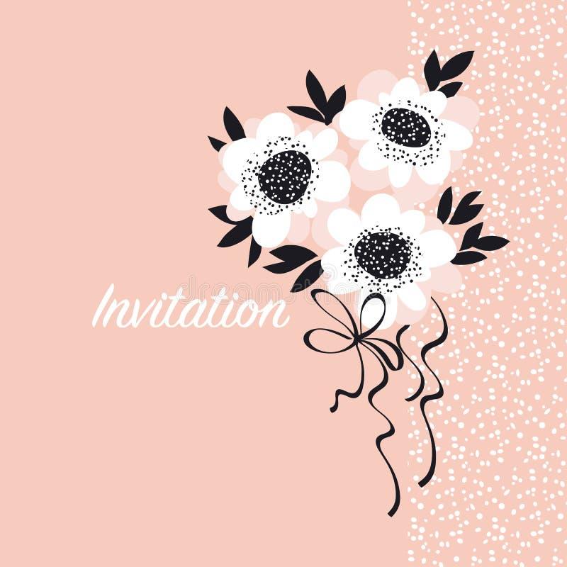 Calibre rose d'invitation de fleurs d'abrégé sur pâle couleur illustration de vecteur