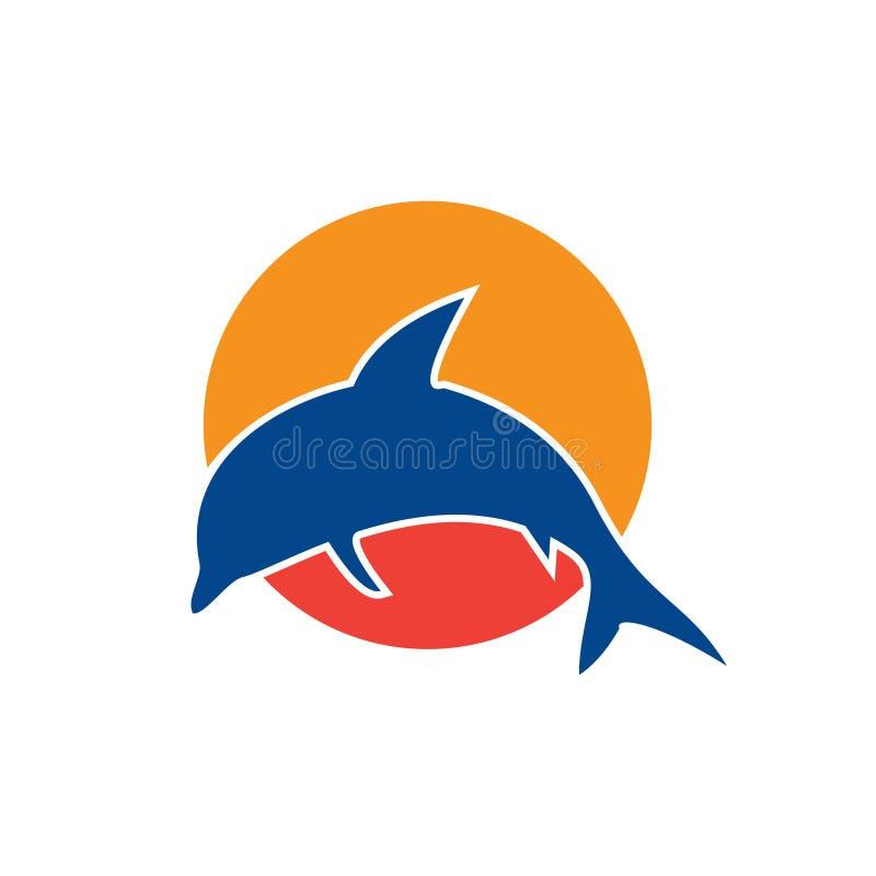 Calibre sautant de symbole de coucher du soleil de dauphin de baie de mer illustration libre de droits
