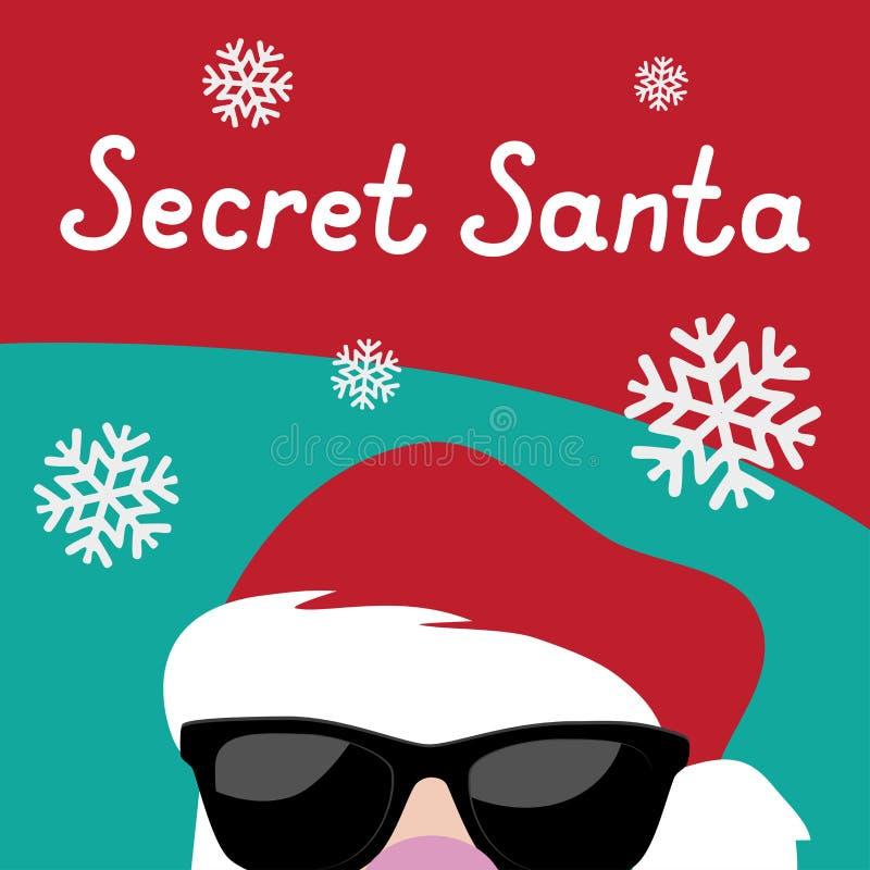 Calibre secret de fond de partie de Santa Christmas de bande dessinée illustration stock