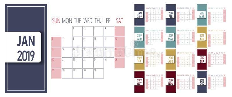 Calibre simple de calendrier de la nouvelle année 2019 Débuts de semaine dimanche illustration stock