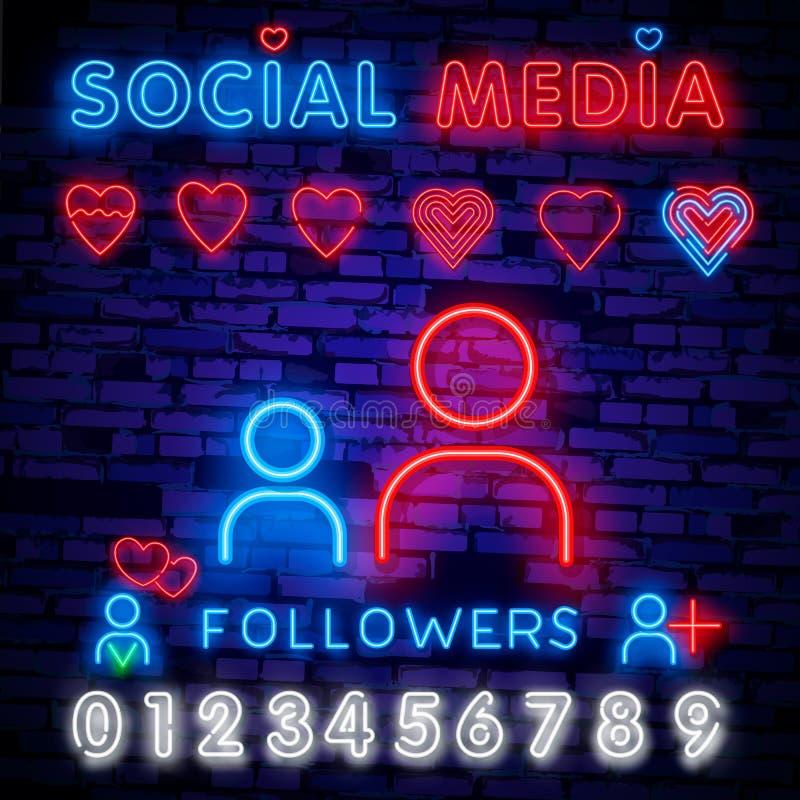 Calibre social de conception d'enseigne au néon de médias Logo au néon de disciples, tendance colorée de conception moderne de ba illustration stock