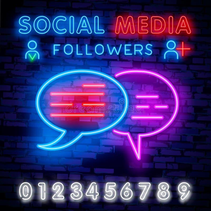 Calibre social de conception de vecteur d'enseigne au néon de médias Logo au néon bloguant, tendance colorée de conception modern illustration stock