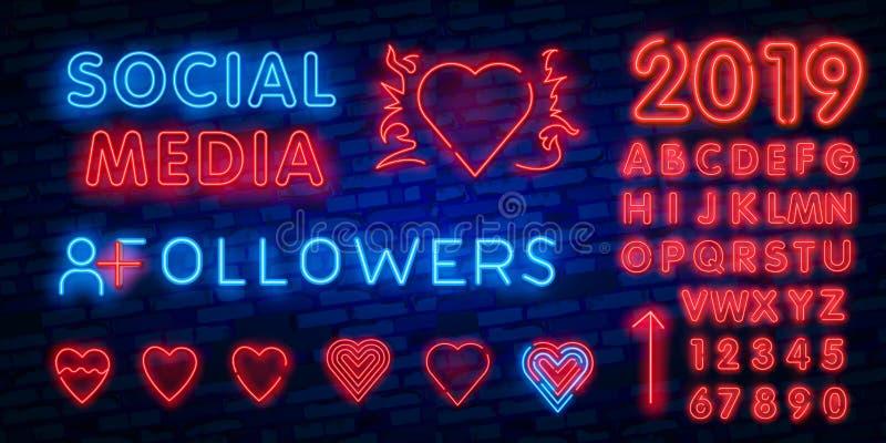 Calibre social de conception de vecteur d'enseigne au néon de médias Logo au néon de coeur, tendance colorée de conception modern illustration stock