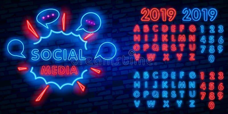 Calibre social de conception de vecteur d'enseigne au néon de médias Logo au néon de vue, tendance colorée de conception moderne  illustration stock