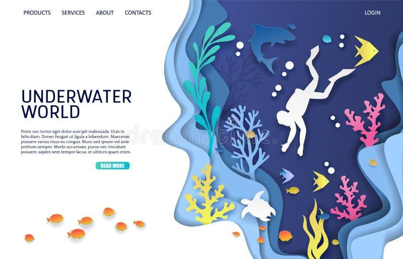 Calibre sous-marin de conception de page d'atterrissage de site Web de vecteur du monde illustration de vecteur