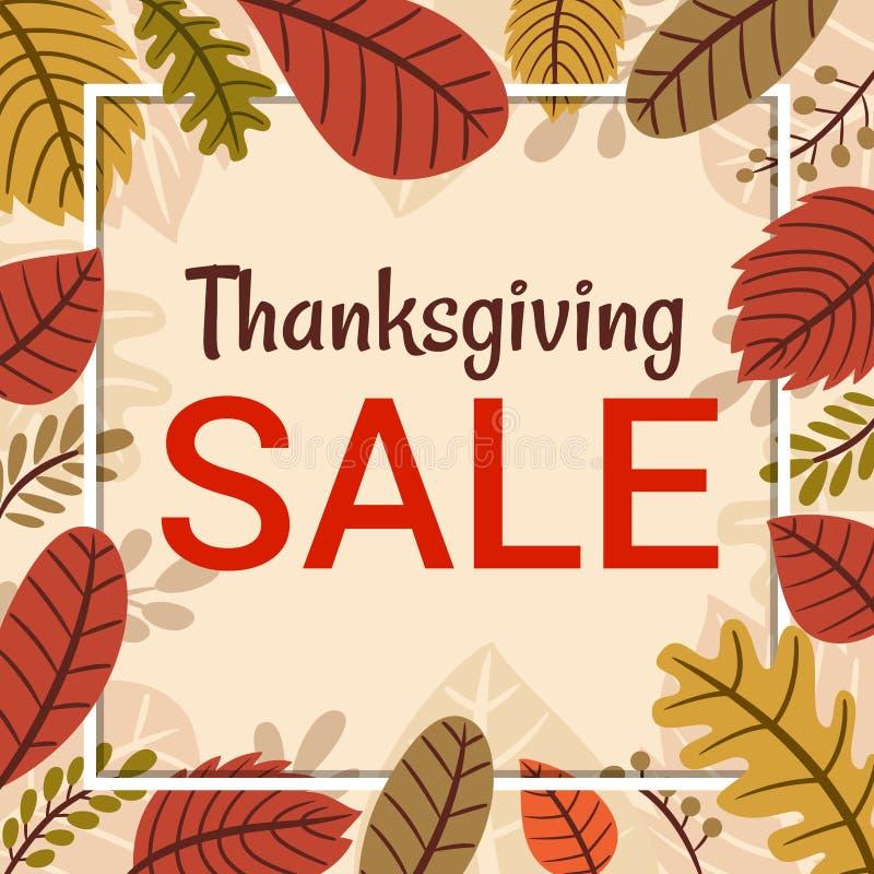 Calibre tiré par la main de bannière de vente de thanksgiving de vecteur avec la feuille d'automne illustration libre de droits