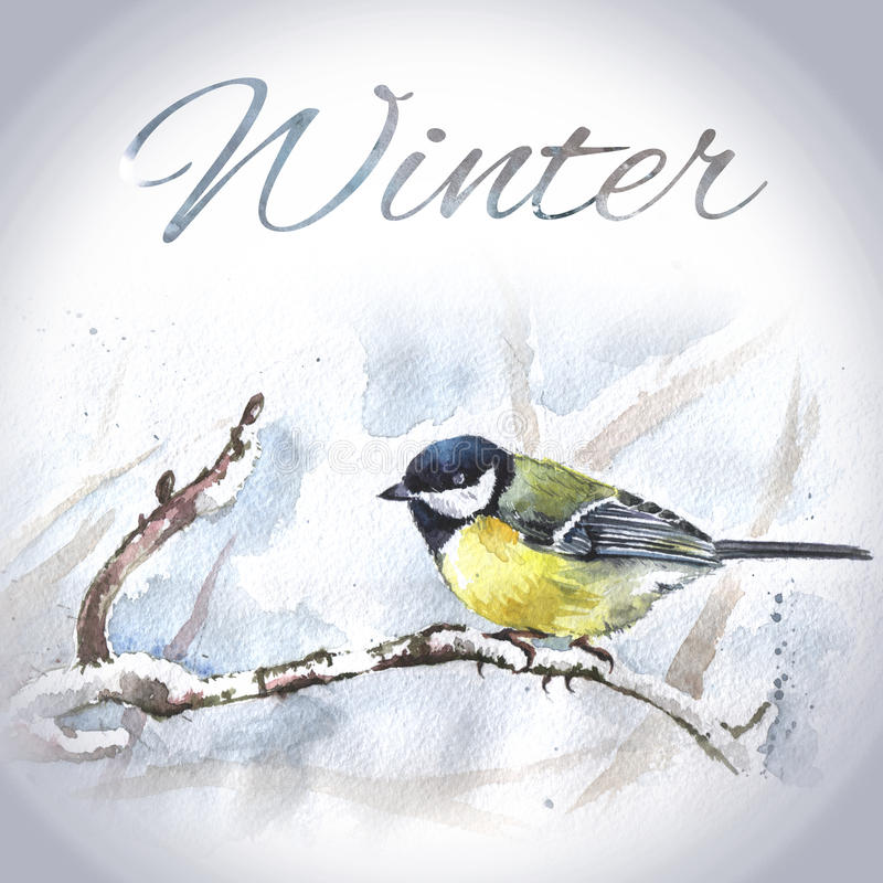 Calibre tiré par la main de carte d'oiseau d'aquarelle illustration libre de droits