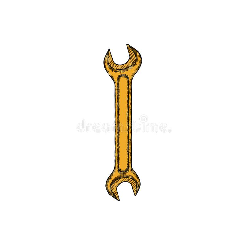 Calibre tiré par la main de conception de logo de croquis de clé de vintage Vecteur illustration libre de droits