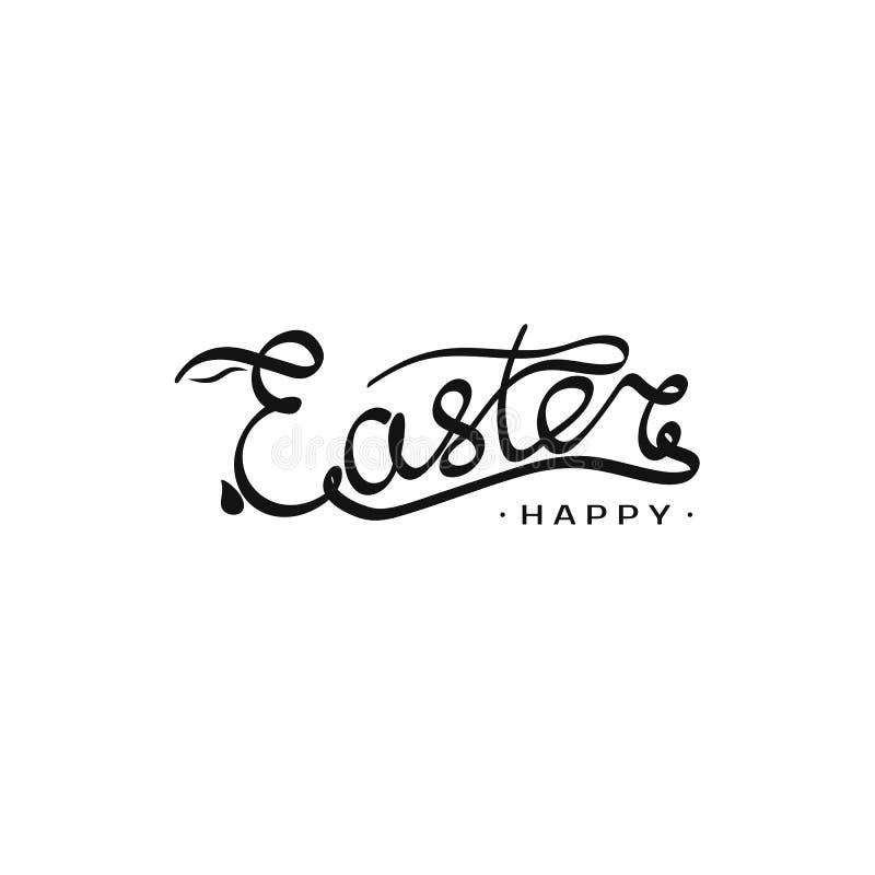 Calibre tiré par la main de Pâques d'inscription avec la silhouette de lapin dans la lettre E Illustration de vecteur pour le tit illustration libre de droits