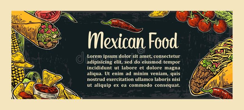 Calibre traditionnel mexicain de menu de restaurant de nourriture avec le plat épicé traditionnel illustration libre de droits