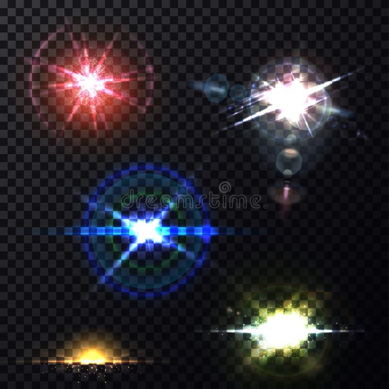 Calibre transparent de fond d'effets de la lumière de lentille illustration stock