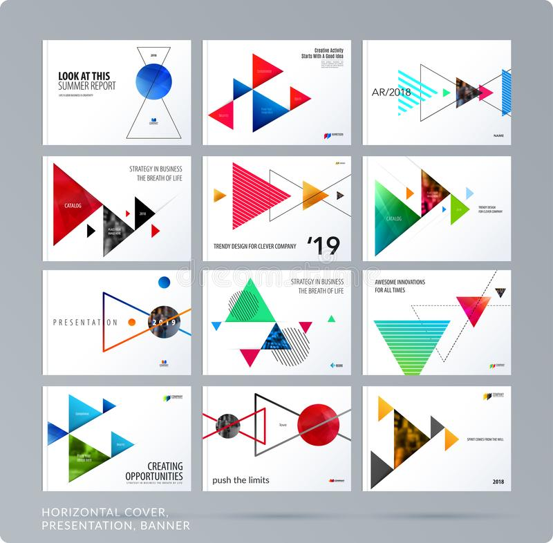 Calibre triangulaire de présentation de conception avec les ombres colorées de triangles Ensemble abstrait de vecteur d'horizonta illustration stock