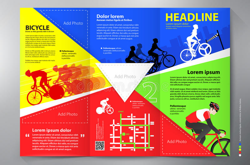 Calibre triple de vecteur de conception de tract de brochure illustration stock