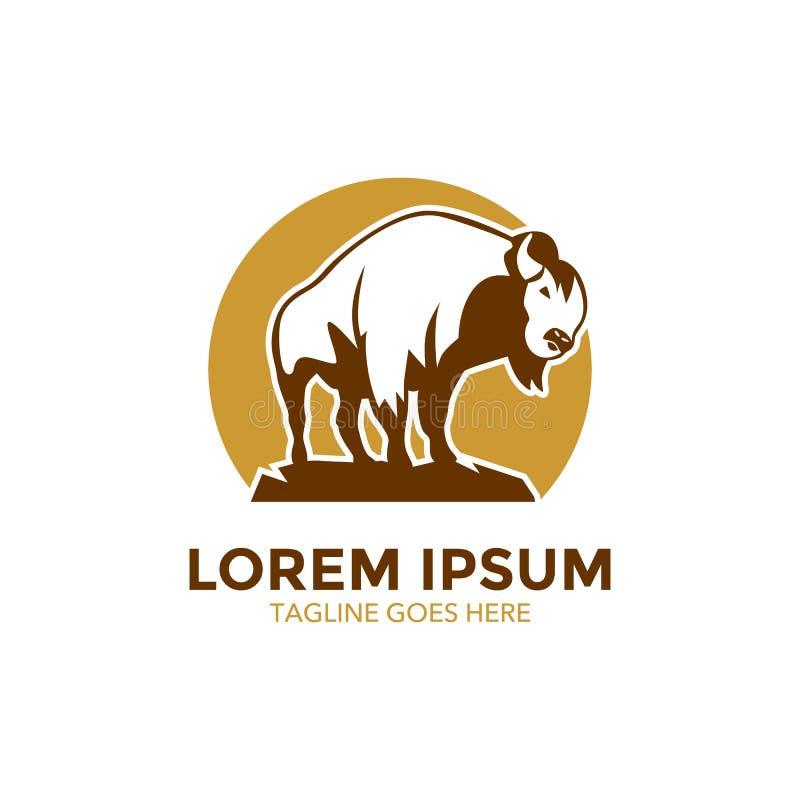 Calibre unique de logo de bison Vecteur editable illustration de vecteur