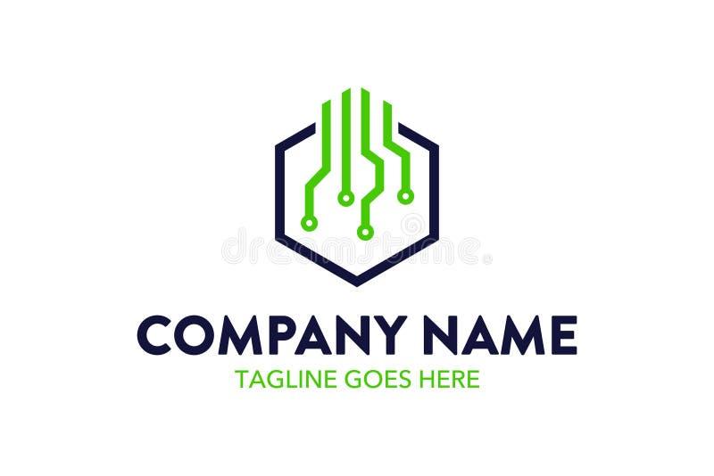 Calibre unique de logo de technologie et de mise en réseau illustration stock