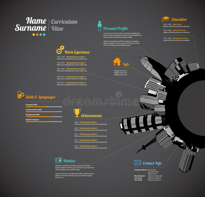 Calibre urbain créatif de résumé de curriculum vitae illustration stock