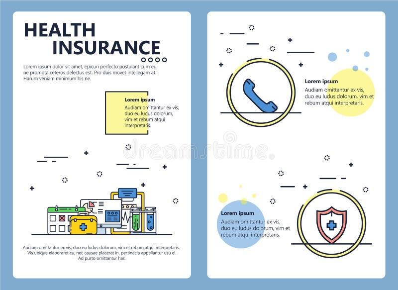 Calibre vecteur d'affiche d'assurance médicale maladie de schéma illustration stock