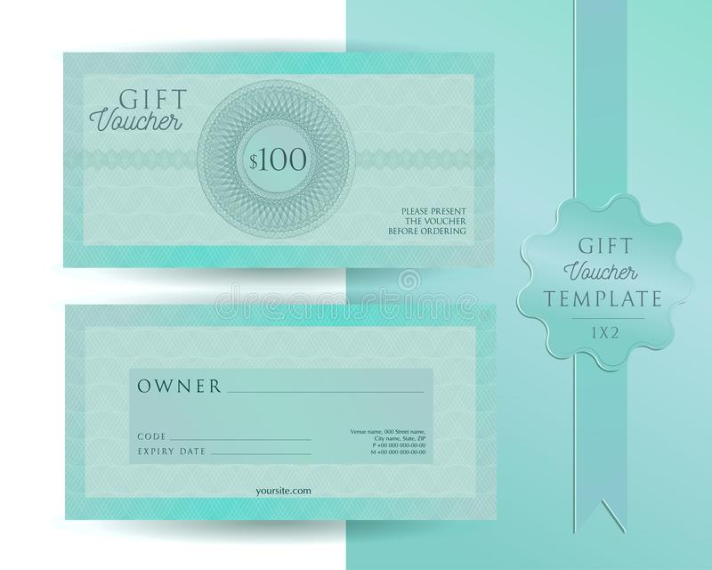 Calibre vert-bleu de turquoise pour 100 dollars de bon de cadeau avec des filigranes de guilloche Bon double face avec des champs photo libre de droits