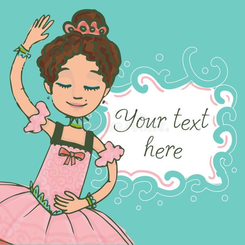 Calibre vert d'illustration avec le texte et la belle danse de fille de ballerine de brune illustration stock