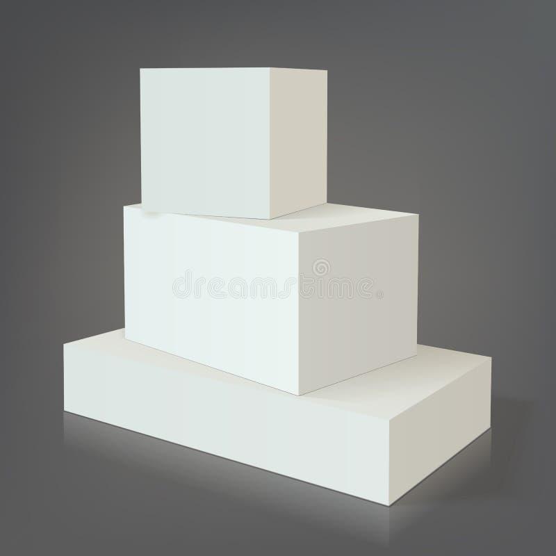 Calibre vide blanc de la boîte trois illustration libre de droits