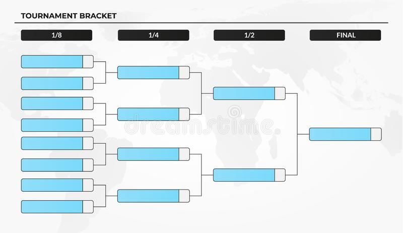 Calibre vide de parenthèse de tournoi pour des concours de coupe du monde illustration de vecteur