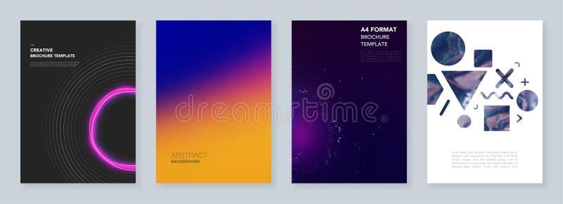 Calibres à la mode minimaux de brochure avec l'infographics coloré abstrait, milieux futuristes de conception minimalistic illustration stock
