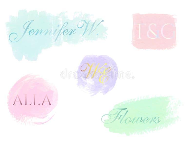 Calibres abstraits de conception de logo Courses peintes à la main en pastel de brosse Formes simples et minimalistic Style artis illustration stock
