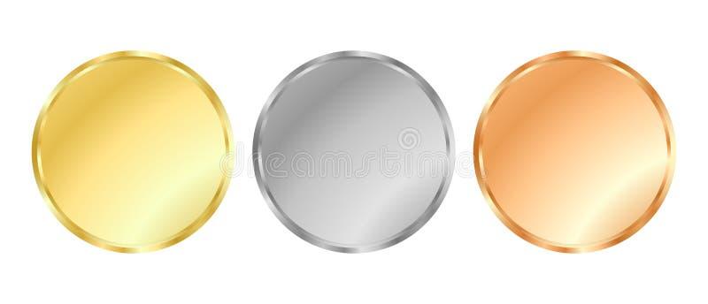 Calibres argentée et de bronze de médaille d'or, illustration libre de droits