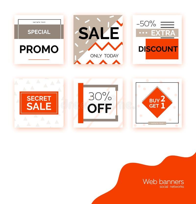 Calibres, bannières pour la promotion sociale de courrier de médias Milieux carrés géométriques avec l'espace des textes, élément illustration de vecteur