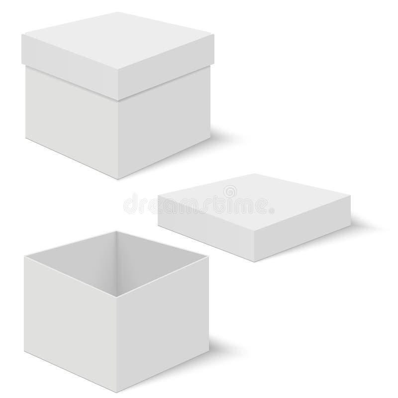 Calibres blancs de boîte carrée Récipient de papier pour le produit Illustration de vecteur illustration libre de droits
