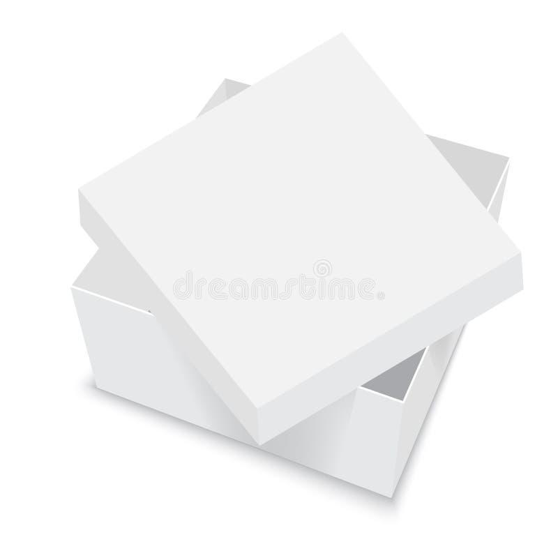 Calibres blancs de vecteur de boîte carrée Récipient de papier pour le produit Illustration de vecteur illustration stock