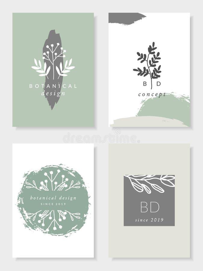 Calibres botaniques de carte de conception illustration libre de droits