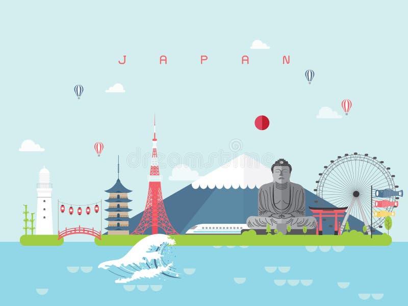 Calibres célèbres d'Infographic de points de repère du Japon pour le style et l'icône minimaux de déplacement, vecteur d'ensemble illustration stock