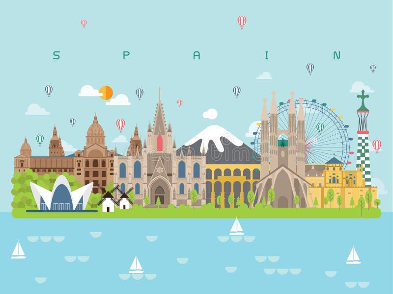 Calibres célèbres d'Infographic de points de repère de l'Espagne pour le style et l'icône minimaux de déplacement, illustration d photographie stock libre de droits
