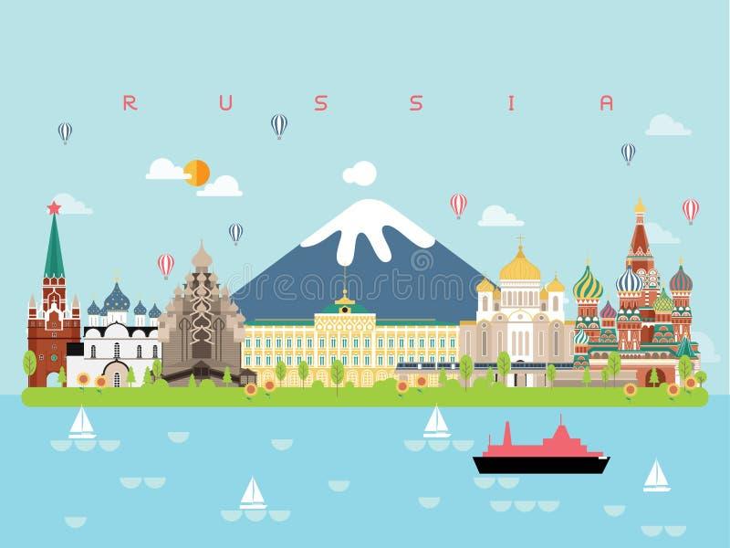 Calibres célèbres d'Infographic de points de repère de la Russie pour le déplacement et l'icône, vecteur d'ensemble de symbole image stock