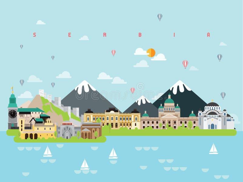 Calibres célèbres d'Infographic de points de repère de la Serbie pour le style et l'icône minimaux de déplacement, illustration d photos stock