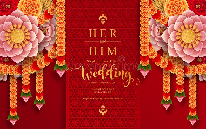 Calibres carddian de carte d'invitation de mariage d'invitation de mariage d'InIndian avec de l'or modelé et cristaux sur le fond illustration de vecteur