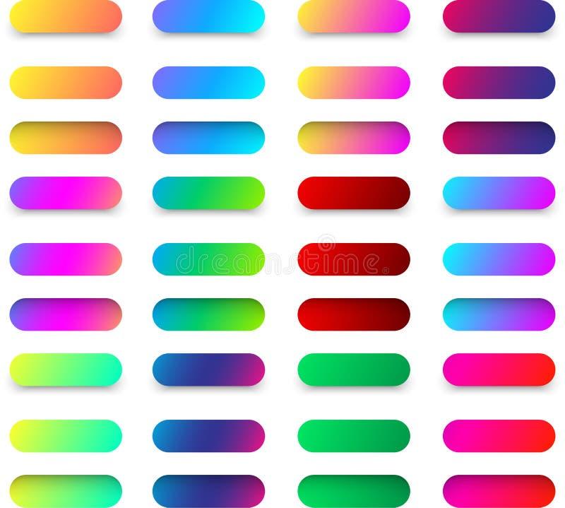 Calibres colorés de bouton de Web d'isolement sur le blanc illustration de vecteur