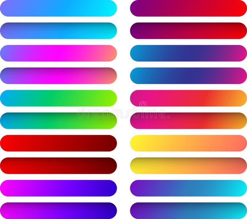 Calibres colorés de bouton de Web d'isolement sur le blanc illustration stock