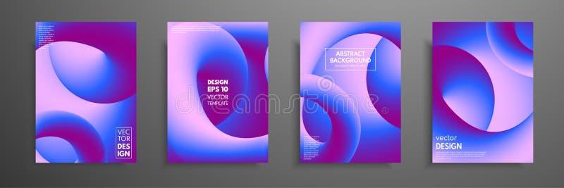 Calibres colorés réglés avec les éléments abstraits Conception liquide de mélange abstraite de couverture de formes de couleur Ap illustration stock