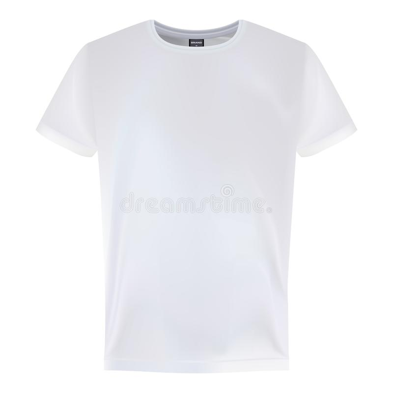 Calibres courts blancs de conception de T-shirt de douille des hommes s d'isolement sur un fond blanc Illustration de vecteur illustration de vecteur