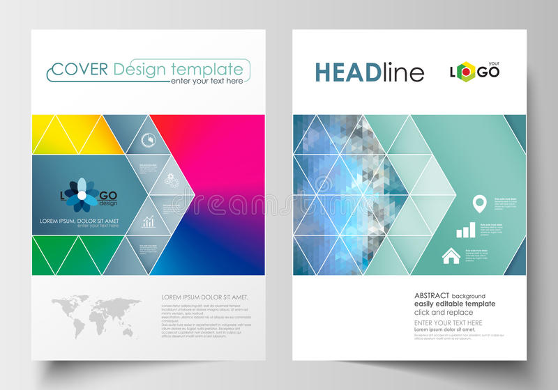 Calibres d'affaires pour la brochure, la magazine, l'insecte, le livret ou le rapport annuel  Couvrez le calibre de conception, d illustration de vecteur
