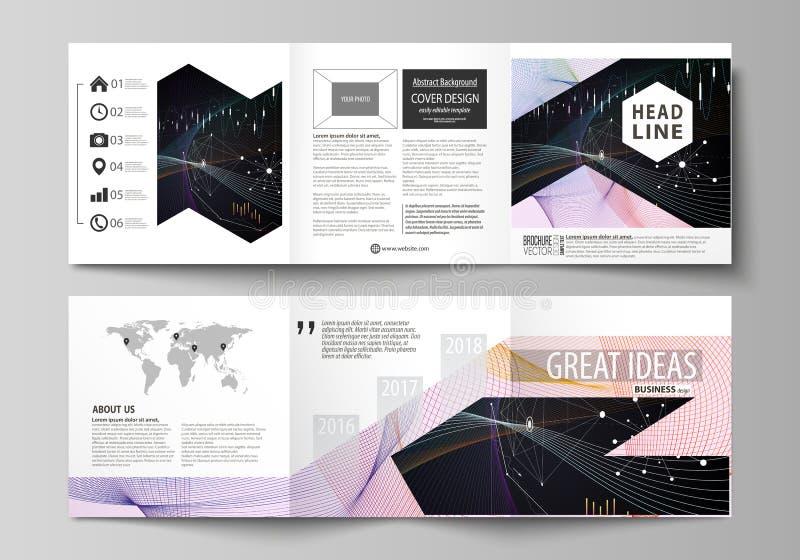 Calibres d'affaires pour les brochures carrées triples de conception Couverture de tract, disposition de vecteur Infographic abst illustration de vecteur