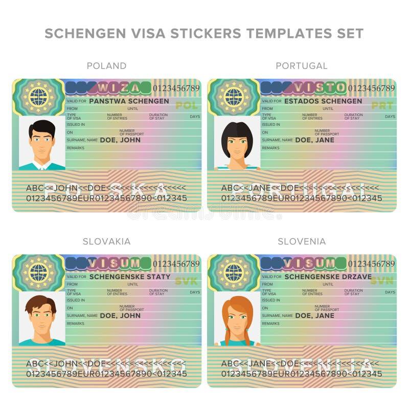 Calibres d'autocollant de passeport de visa de Schengen ensemble pour Pologne, Portugal, Slovaquie, Slovénie illustration libre de droits