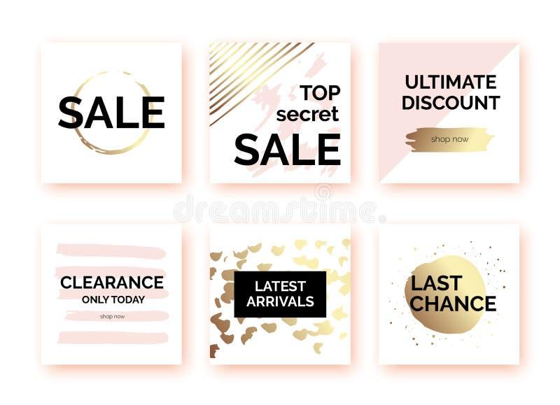 Calibres d'or, bannières pour la promotion sociale de courrier de médias illustration libre de droits
