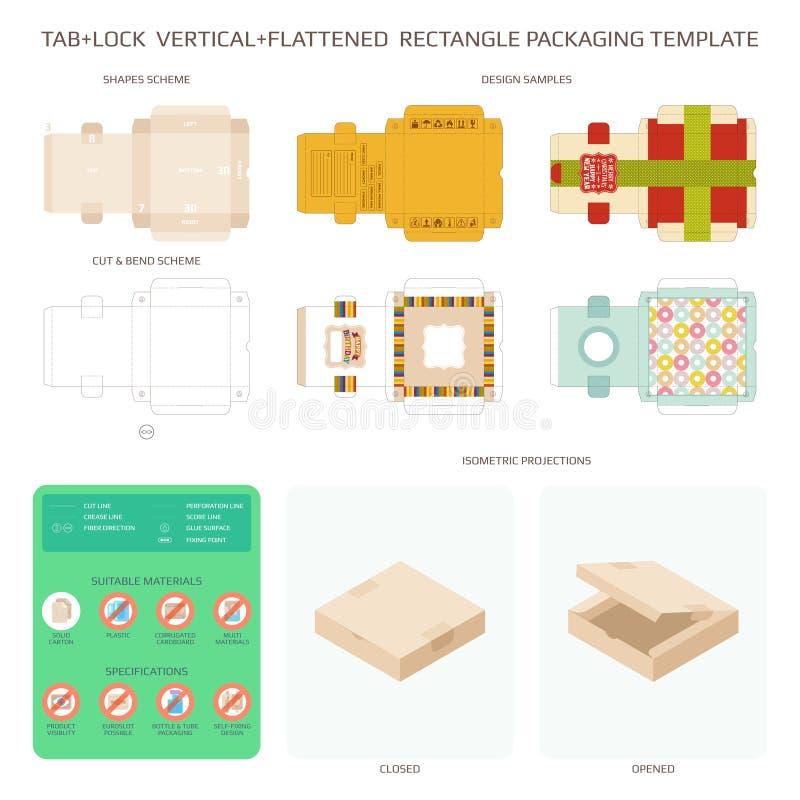 Calibres d'emballage et de conception de carton de vecteur réglés illustration stock