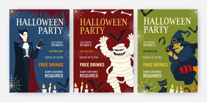 Calibres d'insecte ou d'affiche de vacances de paquet avec des caractères de Halloween - sang potable, maman, sorcière et chat de illustration libre de droits