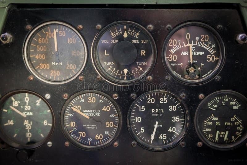 Calibres da aviação dos aviões de um close up velho dos aviões fotos de stock royalty free