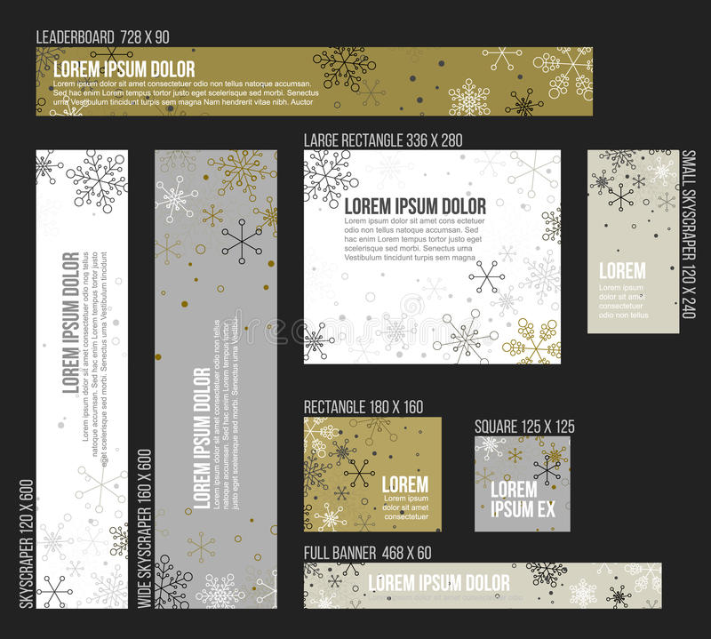 8 calibres de bannière de Noël d'hiver de taille standard illustration libre de droits