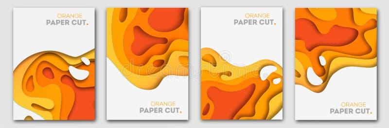 Calibres de bannières avec des formes oranges de coupe de papier Conception abstraite moderne d'automne lumineux Illustration de  illustration libre de droits